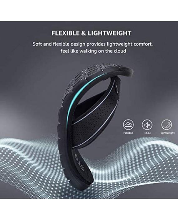 STQ Flip Flops for Women Comfortable Memory Foam Slip Resistant Thong Sandals for Beach All Black 8