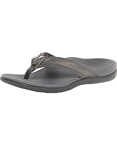 Vionic Tide II - Women's Leather Orthotic Sandals Pewter Metallic - 11 Medium