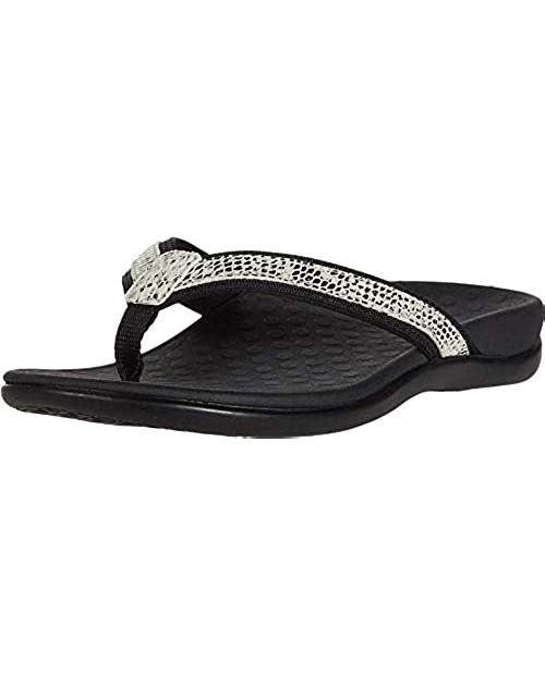 Vionic Tide II - Women's Leather Orthotic Sandals White Black Snake - 8 Medium
