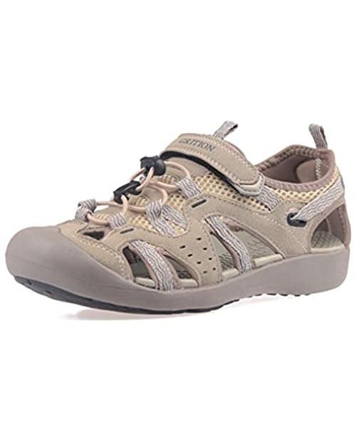 GRITION Women Outdoor Hiking Sandals Summer Adjustable Closed Toe Beach Sport Walking Shoes Beige