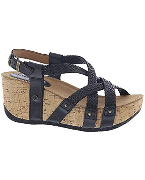 Bussola Sandals for Women Cross Straps Wedge Sandals Fida Platform Buckle Shoes Leather Soft and Stable for Walking