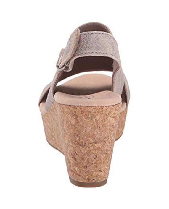 Clarks Women's Annadel Ivory Wedge Sandal pewter suede 110 M US