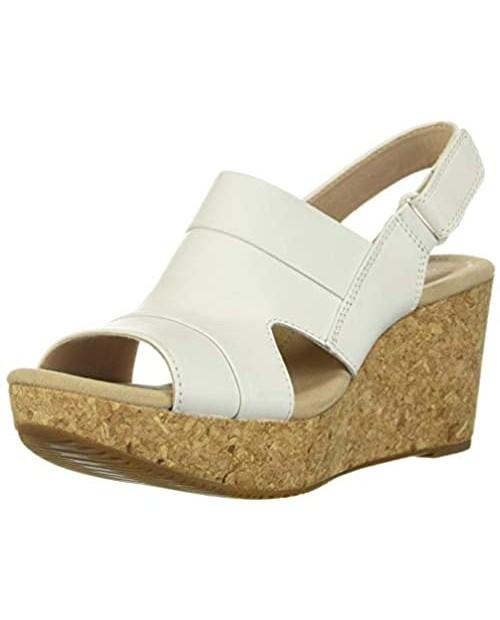 Clarks Women's Annadel Ivory Wedge Sandal white leather 100 M US
