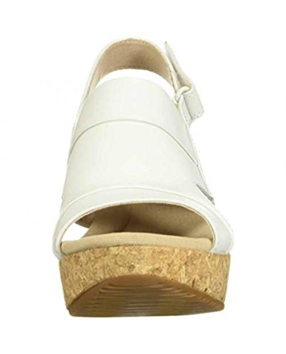 Clarks womens Annadel Ivory Wedge Sandal White Leather 9.5 US