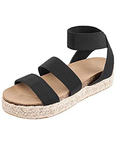 YYW Platform Espadrille Sandals for Women Open Toe Stretch Ankle Strap Studded Shoes Summer Platform Sandals