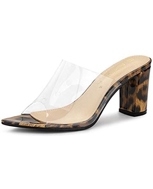 Allegra K Women's Clear Chunky Heel Slides Sandals Mules