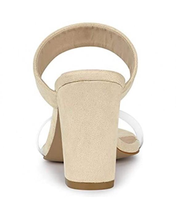 Allegra K Women's Dual Clear Strap Block Heels Slides Sandals
