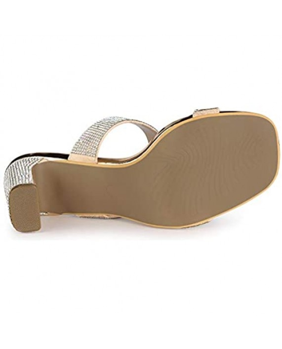 Allegra K Women's Rhinestone Chunky Heel Slide Heel Sandals