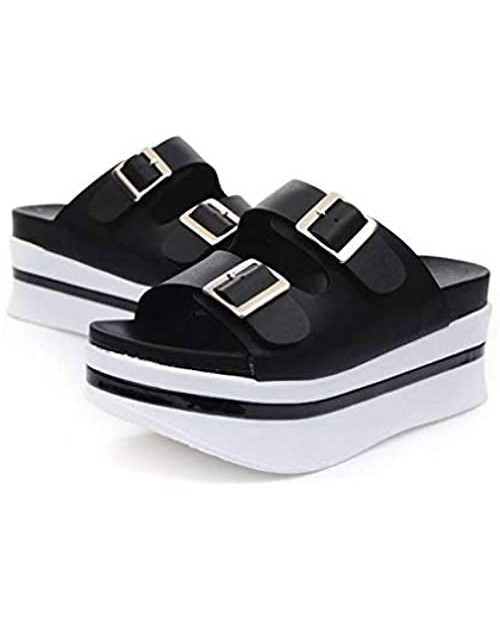 EpicStep Women's Open Toe Cushioned Platform Thick Soles High Heel Summer Buckle Slippers Slides
