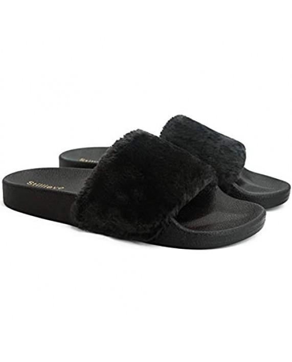 Stillieve Women's Fuzzy Slides Faux Fur Slide Sandals