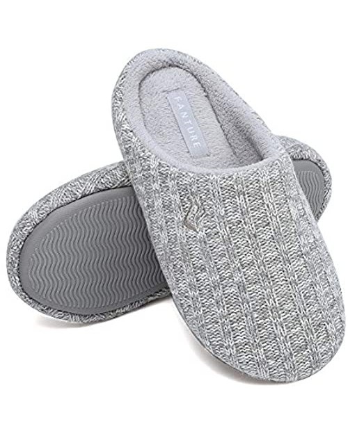 FANTURE Unisex Men's and Women's House Slippers Indoor Memory Foam Cashmere Cotton-Blend Knitted Autumn Winter Anti-Slip