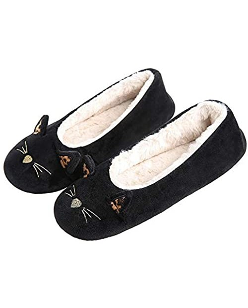 GaraTia Cat Slippers for Women Cute Animal Warm House Slippers Socks Winter Slip on Home Shoes Indoor