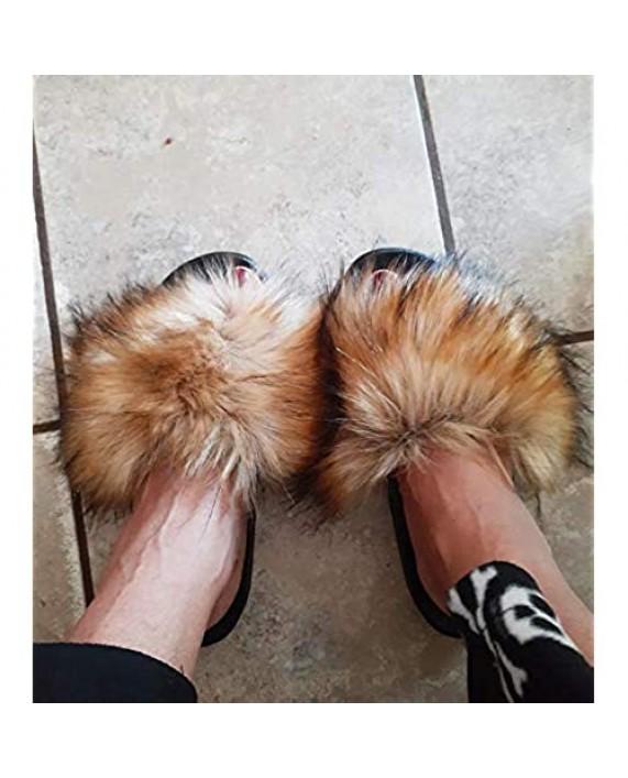 NewYouDirect Fur Slides for Women Quality Long Fur Womens Slides Fuzzy Sandals Flip Flop Furry Slides Soft Flat for Indoor Outdoor
