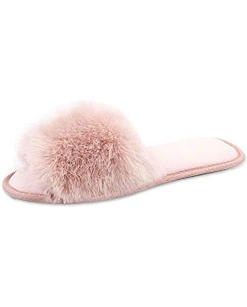 Women Fuzzy House Slippers :Fluffy Open Toe Summer Slippers - Bedroom Home Furry Slides Slippers - Fluffy Memory Foam Plush Shoes