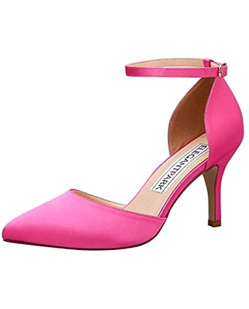 ElegantPark Women Pointed Toe High Heel Pumps Satin Ankle Strap Wedding Bridal Evening Party Dress Shoes
