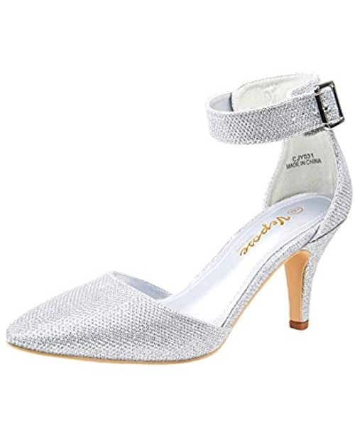 VEPOSE Women's Low Heels Dress Pumps 3 Inch Kitten Pointed Business Casual Bridal Wedding Shoes